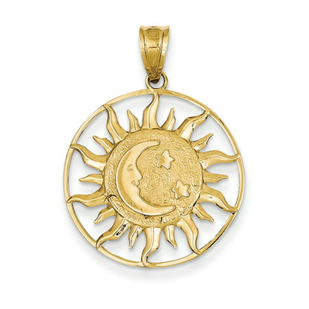 14k Yellow Gold 22mm Sun, Moon and Stars Circle (Medium Circle Pendant)