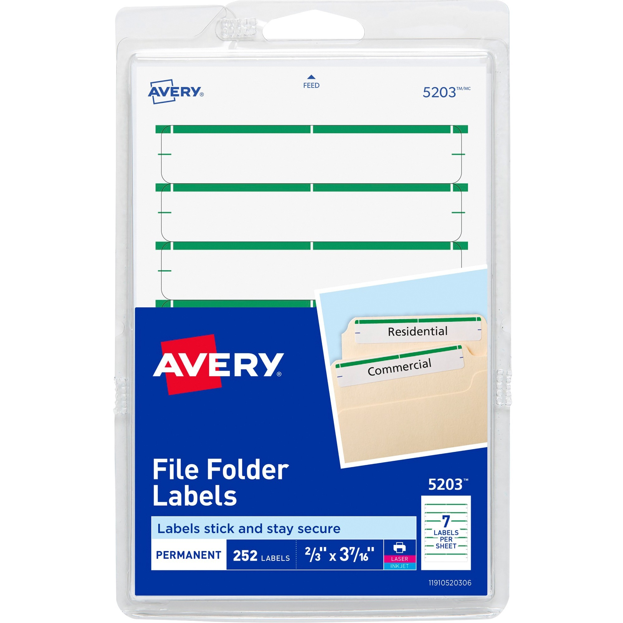 Avery Print or Write File Folder Labels, 11/16 x 3 7/16, White/Green Bar, 252/Pack