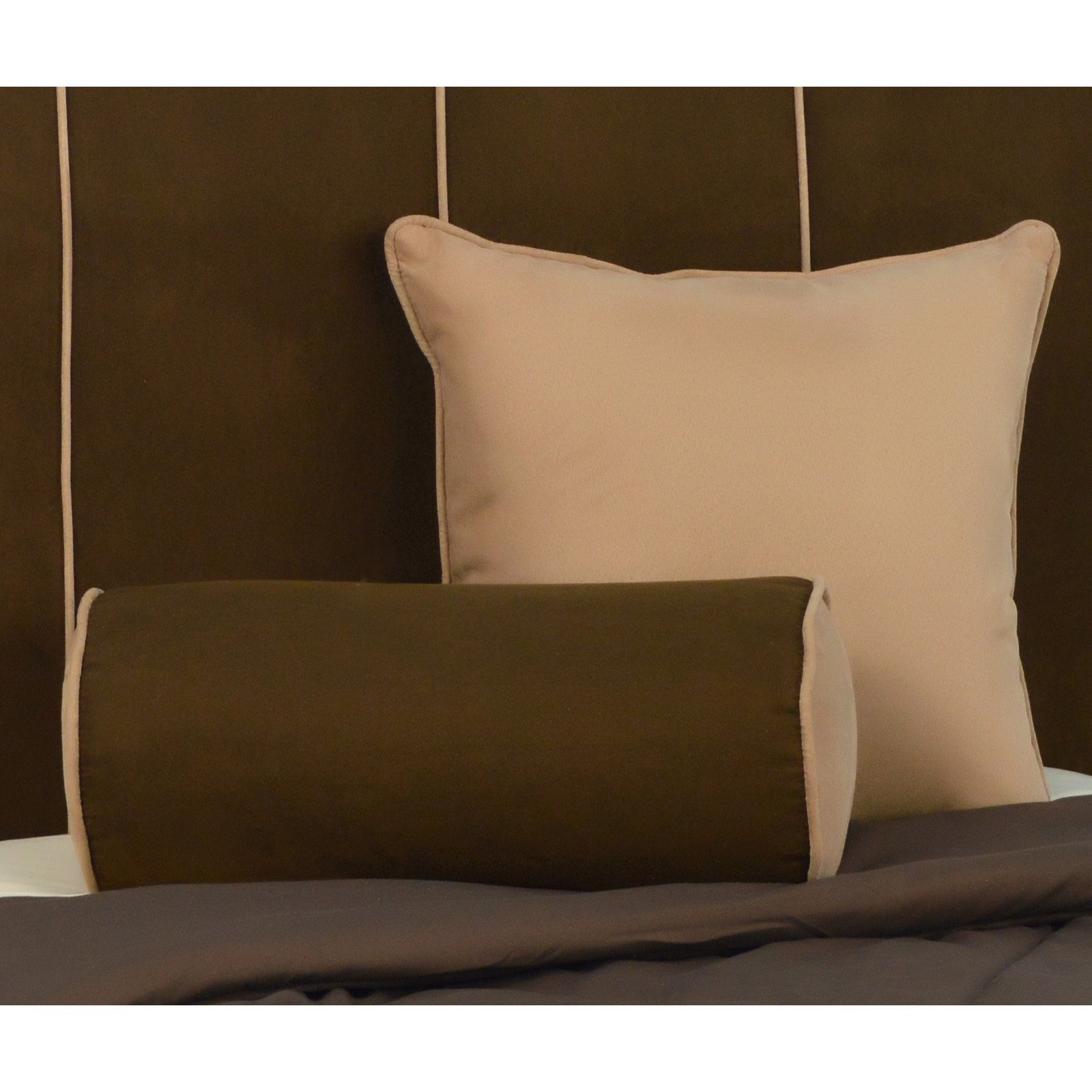 kangaroo bolster and square pillow set bison with latte