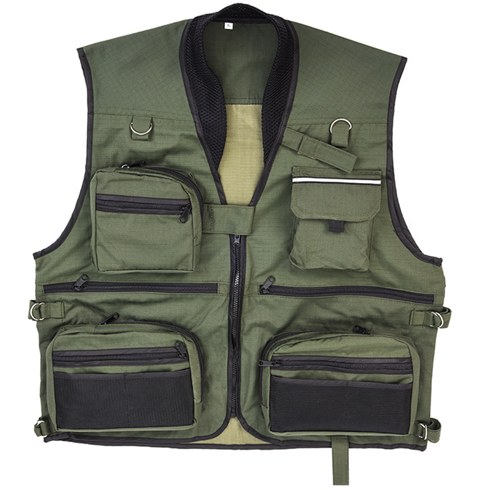 Fishing Vest Photography Outdoor Fishing Gear Vest with Many Pockets for Outdoor Activities Color:Army green Size:XXXL by