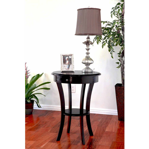 Home Craft Wood Round Table with Drawer and Shelf, Espresso Finish