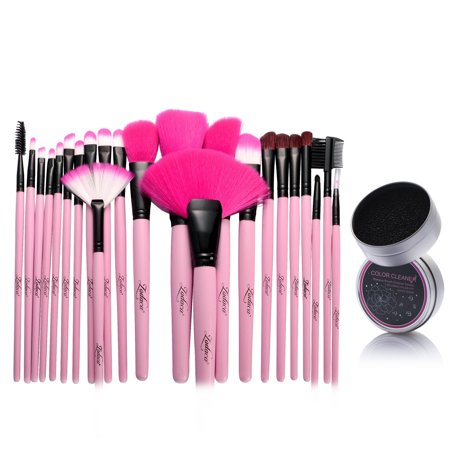 Zodaca Pink Pro 24Pcs Makeup Brush Set Powder Blush Eyeshadow Foundation Blending Eyeliner Highlighter Lip Highlighting Contouring Cosmetic Tools With Pouch Bag Kit   Color Remover Switch Clean Sponge