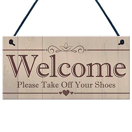 - HiCoup Welcome Please Take Off Your Shoes Hanging Plaque Sign House Porch Decoration