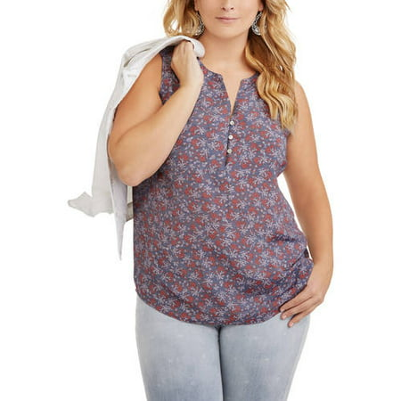 354a4909ffd9d Faded Glory - Women s Plus Sleeveless Woven Top - Walmart.com