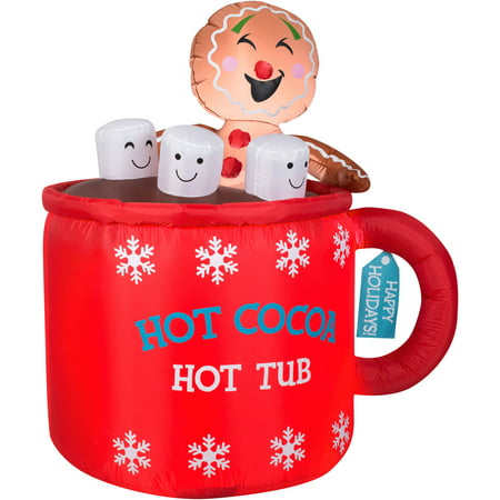 "Gemmy Airblown Christmas Inflatables 4'6"" Gingerbread in Mug of Cocoa Scene"