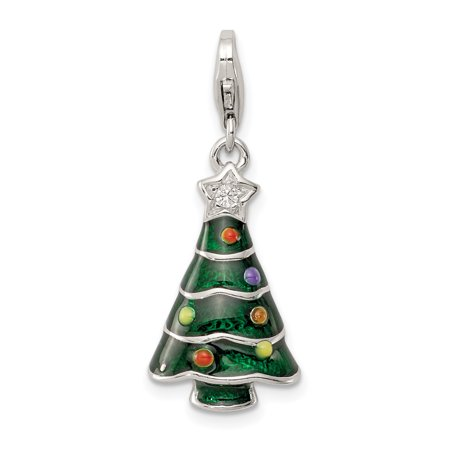 ICE CARATS 925 Sterling Silver Cubic Zirconia Cz Enameled Christmas Tree Pendant Charm Necklace Holiday Fine Jewelry Ideal Gifts For Women Gift Set From Heart - Christmas Jewelry Ideas
