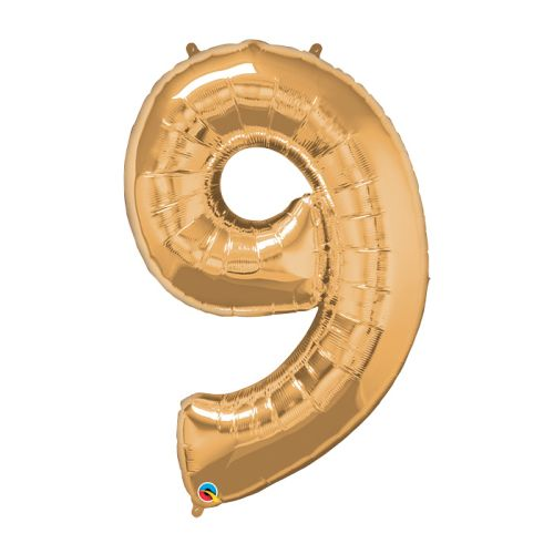"Way to Celebrate 42"" Number 9 Gold Balloon"