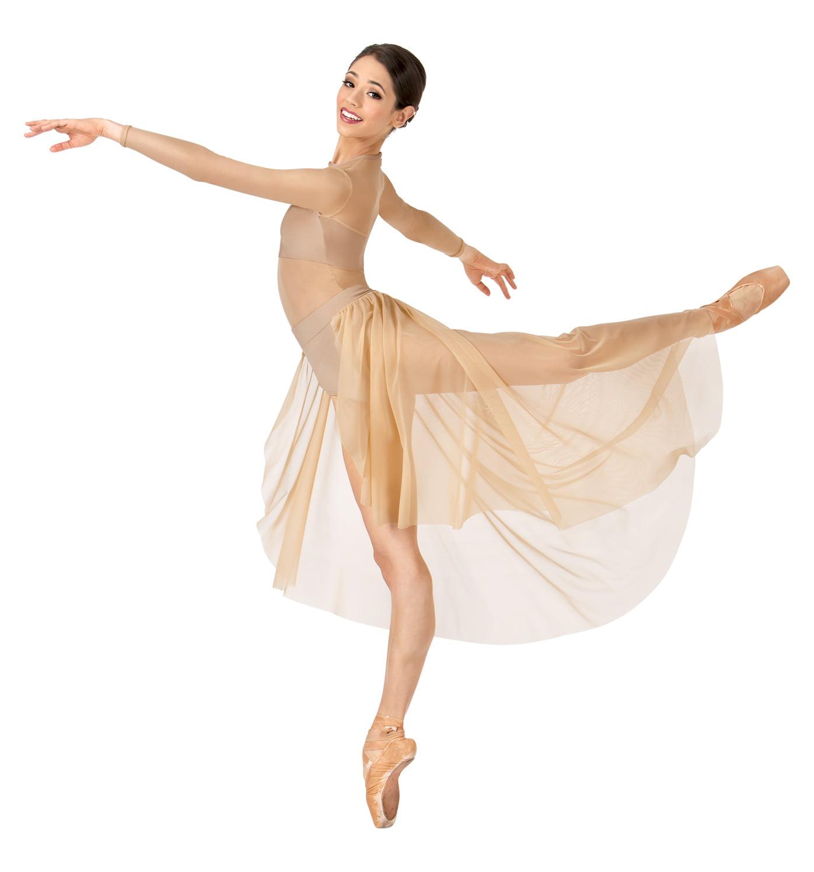 4e62bd545 DOUBLEP - Adult Long Sleeve High-Low Dance Performance Dress - Walmart.com