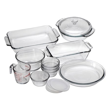 Pie Casserole (Anchor Hocking Oven Basics 15-Piece Glass Bakeware Set with Casserole Dish Pie Plate Measuring Cup Mixing Bowl and Custard Cups with Lids 15-Piece Set )