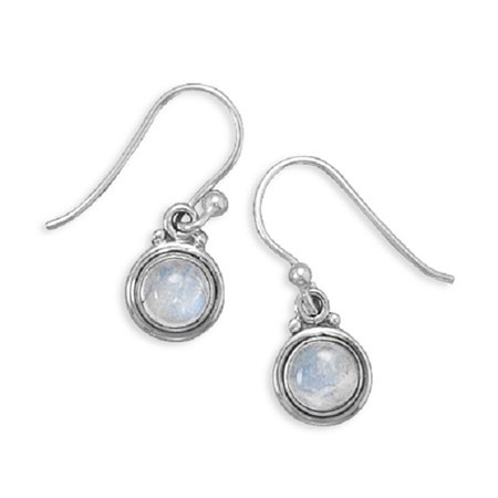 Rainbow Moonstone Polished Edge Round Sterling Silver - Rainbow Moonstone Gemstone Earring