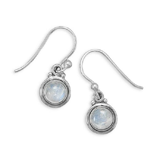 Blue Rainbow Moonstone Ring .925 Sterling Silver Teardrop Double Beaded Edge Size 8