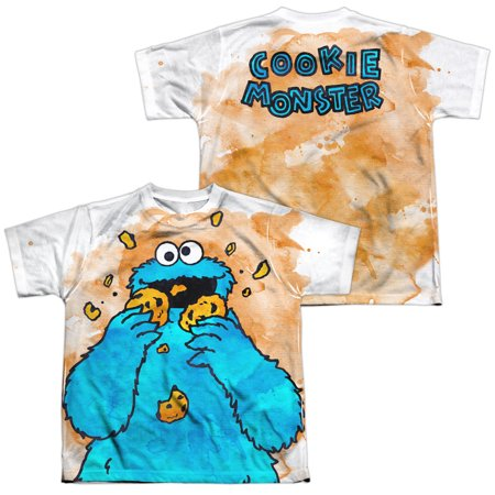 - sesame street show cookie monster crumbs boys youth front/back print t-shirt tee