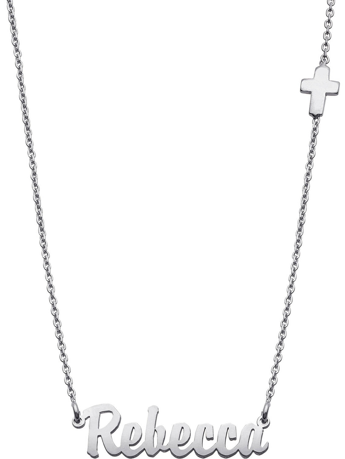 "Personalized Sterling Silver Mini Name Necklace with Cross, 16"" + 2"" Extender"