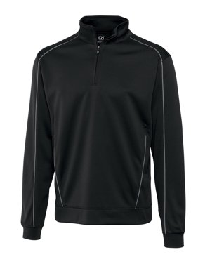 cutter & buck men's big-tall drytec edge half zip sweatshirt, black, 1xl