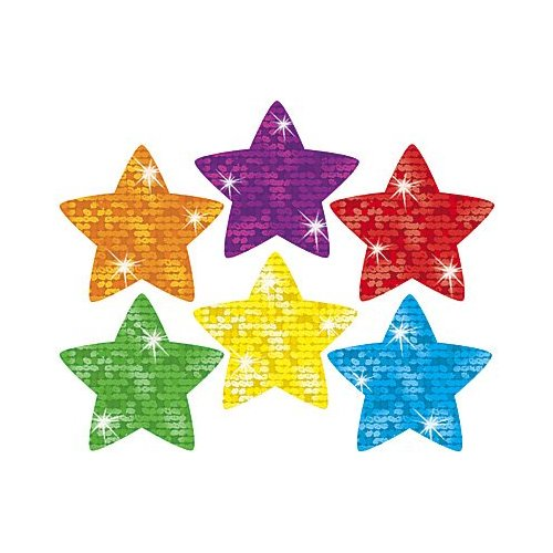 Trend Supershapes Sticker - 180 Sparkle Stars - Assorted (T46306)
