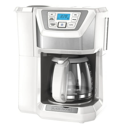 BLACK+DECKER Mill & Brew 12-Cup* Programmable Coffeemaker with Built-In Grinder, White, CM5000WD (White Thermal Programmable Coffee Maker)