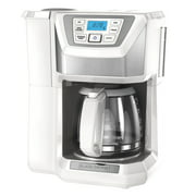 BLACK+DECKER Mill & Brew 12-Cup* Programmable Coffeemaker with Built-In Grinder, White, CM5000WD