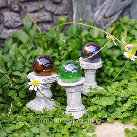 (Georgetown Home & Garden Mini Gazing Globes, Set of 3 for Miniature Garden, Fairy Garden)