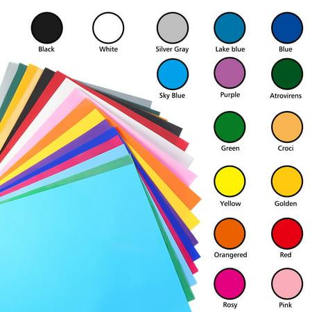 Colour Vinyl - Heat Transfer Vinyl 25 Sheets, 16 Colors 12''x 10'', Heat Transfer Bundle Iron on HTV T Shirts, Hats, Clothing Heavy Duty Vinyl Silhouette Cameo, Cricut Heat Press Machine Tool