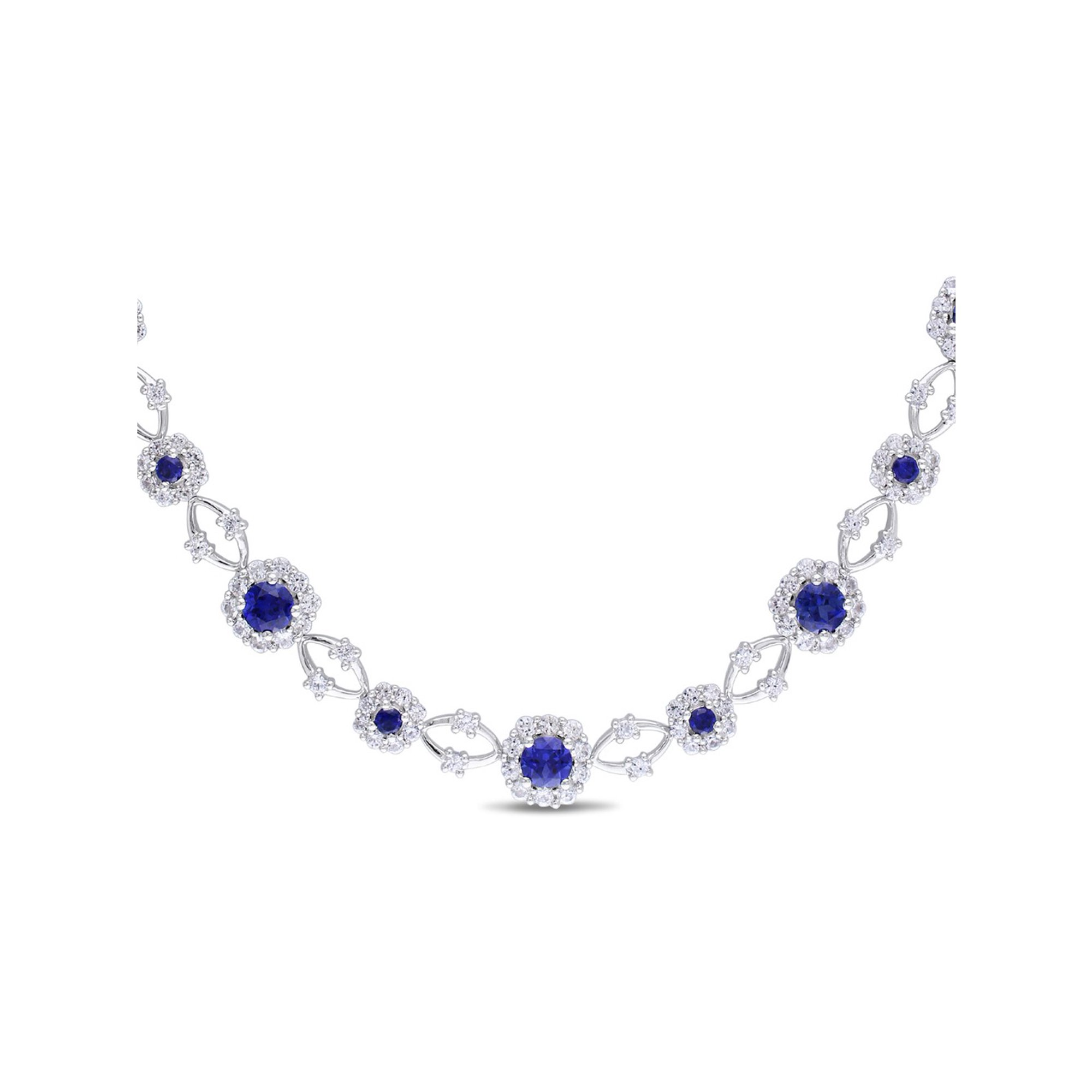 Created Synthetic Blue and White Sapphire 9 00 Carat (ctw