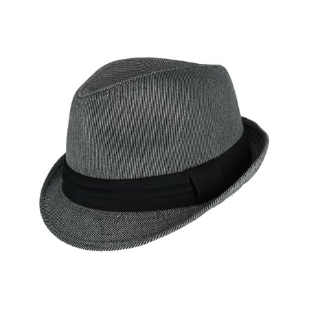 Men's Soft Pinstripe Fedora with Black Band,  - Black Fedora With White Band