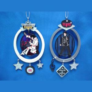 Resin Elvis Stain Glass Ornament Set Of 2