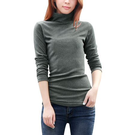 Women's Long Sleeve Knitted Tunic with Turtleneck Gray (Size L / 12)