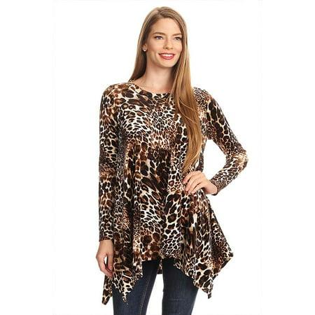 Women's Trendy Style Long Sleeves Print Velvet Tunic Top ()