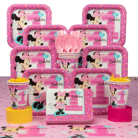 Minnie Mouse 1st Birthday Deluxe Kit (Serves 8 Guests)](Minnie Mouse 1st Birthday Decorations)