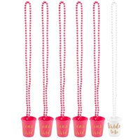 6-Pack Team Bride and Bride To Be Plastic Beaded Bridal Shot Glasses Necklaces - Perfect for Bachelorette, Hot Pink and White with Gold Font - 30.4 Inches Long