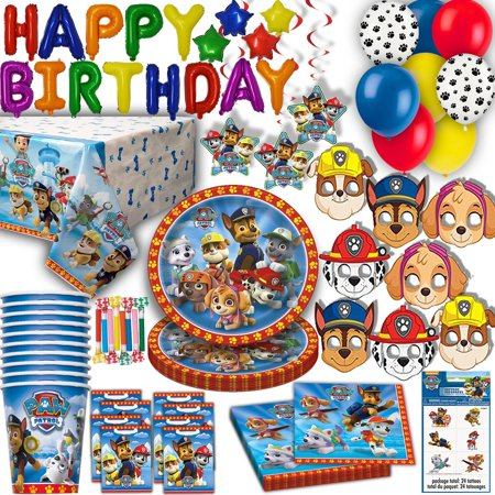 """Paw Patrol Party for 16 - Plates, Cups, Napkins, Balloons, Inflatable HAPPY BIRTHDAY Banner, Masks, Loot Bags, Hanging Swirls, Tattoos, Table Cover, Blowouts - Decorations + Supplies"""