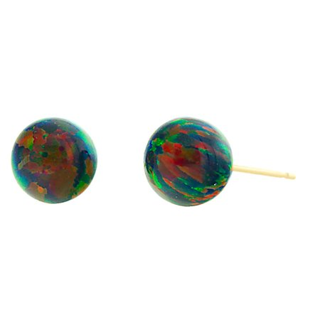 Aurora: 10mm Black Synthetic Opal Ball Stud Post Earrings 14K Yellow Gold