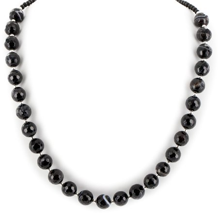 Certified Authentic Navajo .925 Sterling Silver Natural Agate Black Onyx Native American Necklace