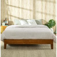 Zinus Wen Deluxe Solid Acacia Wood Platform Bed, Cherry Finish, Queen