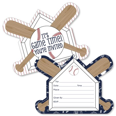 Batter Up - Baseball - Shaped Fill-In Invitations - Baby Shower or Birthday Party Invitation Cards with Envelopes-12 Ct](80's Themed Birthday Invitations)