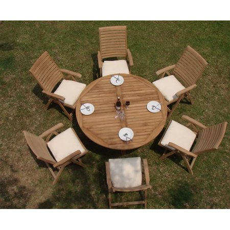set 6 seater 7 pc 60 round table and 6 ashley reclining arm chairs