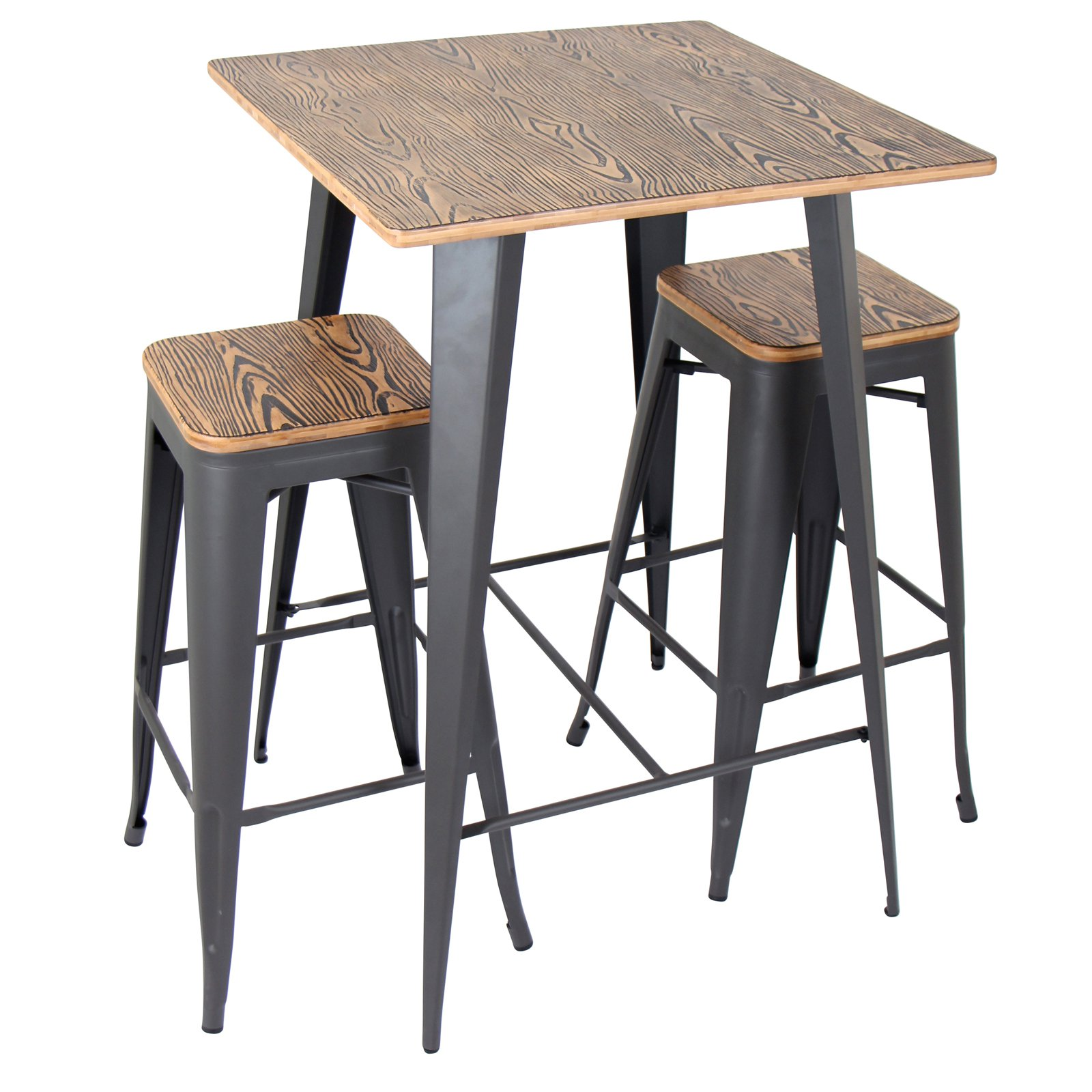 Oregon 3 Piece Industrial Pub Set In Grey And Brown By Lumisource