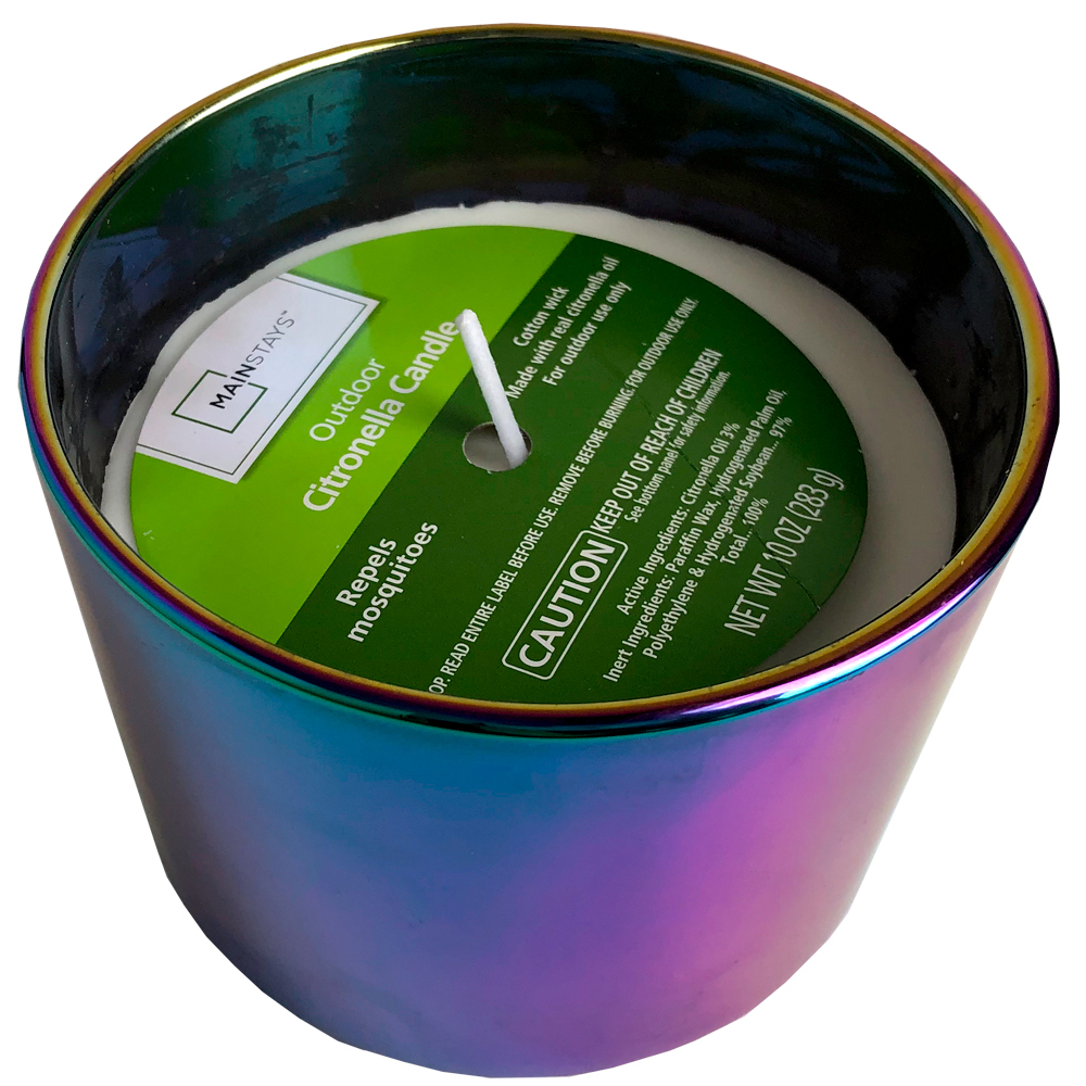 Mainstays Iridescent Glass Outdoor Citronella Candle, 10oz