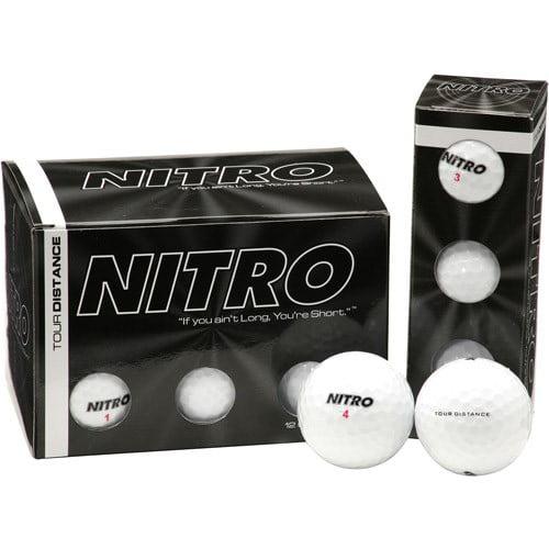 Nitro Tour Distance, Dozen White Golf Balls, 12 Count
