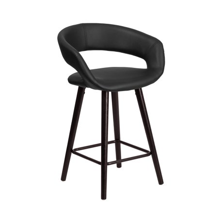Flash Furniture Brynn Series 23.75'' High Contemporary Cappuccino Wood Counter Height Stool in Black