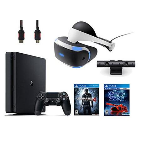 PlayStation VR Bundle 4 Items:VR Headset,Playstation Camera,PlayStation 4 Slim 500GB Console - Uncharted 4,VR Game Disc PSVR Battlezone