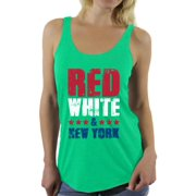 Awkward Styles Red White & New York Racerback Tank Top for Women New York Tanks 4th of July Sleeveless Shirt Women's America Flag Top USA Women's Tank Top American Women New York Gifts Patriots Tank