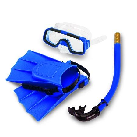 Kids Snorkel Sets - Children Snorkeling Set Snorkel Mask,Silicone Fins +Snorkel Scuba Eyeglasses + Mask Snorkel Silicone Set for 8-12.5 US Foot Size