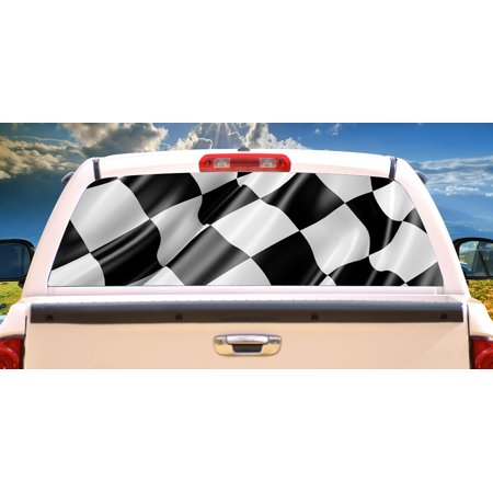 RACE FLAG Rear Window Graphic truck view thru vinyl decal back ()