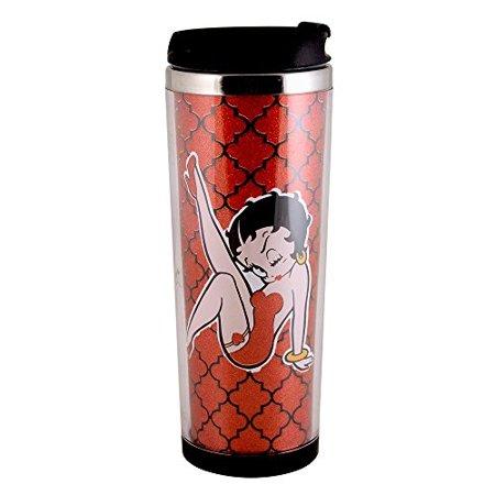 betty boop quatrefoil leg kick stainless steel coffee tumbler, 12-ounce, red