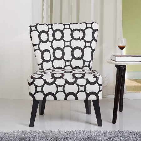 Us Pride Furniture Cora Contemporary Patterned Fabric Upholstered Accent Chair Black White C 040
