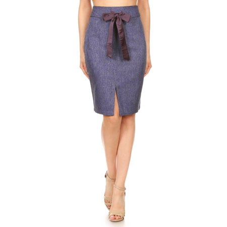 Jessica Tailored Skirt Suit (Fashion Womens Knee Length Tailored Denim Chambray High Waist Pencil)