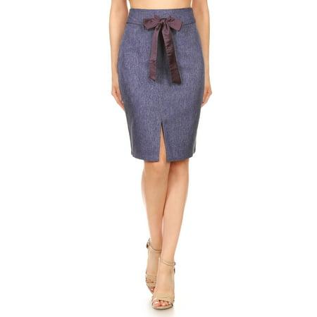(Fashion Womens Knee Length Tailored Denim Chambray High Waist Pencil Skirt)