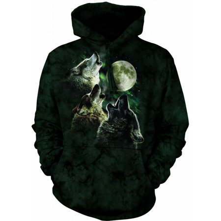 Green Cotton Three Wolf Moon Awesome Animal Hoodie (Large) NEW](Dark Knight Hoodie)