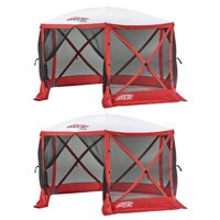 Clam Quick Set Escape Sport 8 Person Outdoor Tailgating Shelter, Red (2 Pack)